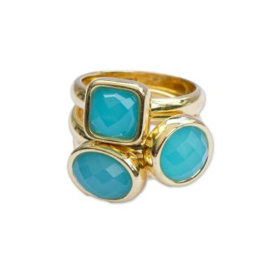 18k Gold Plated Agate Cocktail Rings from Brazil (Set of 3)