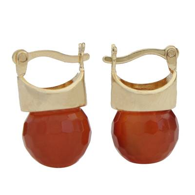 18k Gold Plated Agate Drop Earrings from Brazil