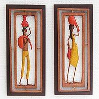 Wood relief panels, 'Northeastern III' (pair) - Pair of Wood Relief Panels Depicting Brazilian Workers