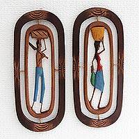 Wood relief panels, 'Northeastern Workers I' (pair) - Handmade Wood Relief Panels of Brazilian Workers