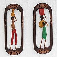 Wood relief panels, 'Northeastern Workers II' (pair) - Louro Canela Wood Relief Panels of Brazilian Workers (Pair)
