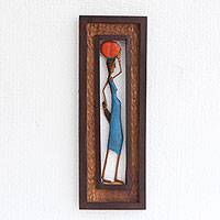 Wood relief panel, 'Woman from the Northeast' - Hand-Carved Wood Relief Panel of a Brazilian Working Woman