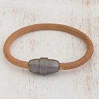 Leather wristband bracelet, 'Mechanical Chic' - Tubular Light Brown Leather Unisex Wristband Bracelet