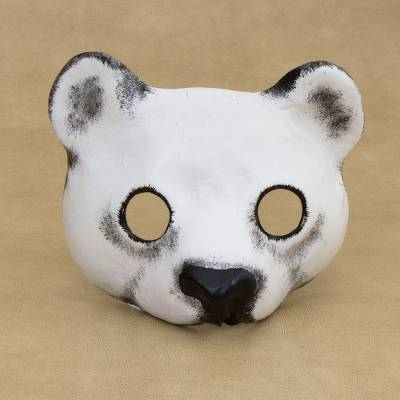 Leather mask, 'Polar Bear Face' - Handcrafted Leather Polar Bear Mask from Brazil