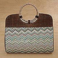 Palm leaf handle handbag, 'Zigzag Waves' - Palm Leaf and Plastic Handle Handbag from Brazil
