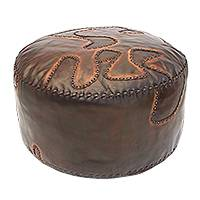 Leather ottoman cover, 'Sunburst Waves' - Handcrafted Wavy Leather Ottoman Cover from Brazil