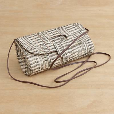 Palm leaf baguette, 'Natural Stripes' - Handwoven Striped Palm Leaf Baguette from Brazil