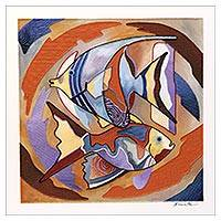 'Fish Series #12' - Signed Fish-Themed Cubist Painting from Brazil