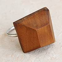 Wood cocktail ring, 'Peroba Geometry' - Modern Wood Cocktail Ring Crafted in Brazil