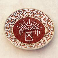 Ceramic decorative bowl, 'Stone Man' - Ceramic Decorative Plate Crafted in Brazil