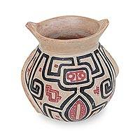 Ceramic decorative vase, 'Marajoara Style' - Handcrafted Ceramic Decorative Vase from Brazil