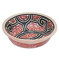 Ceramic decorative bowl, 'Marajoara Antiquity' - Red Ceramic Decorative Bowl Handcrafted in Brazil