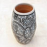 Ceramic decorative vase, 'Macapa Lines' (13.5 inch) - Hand-Painted Ceramic Decorative Vase from Brazil (13.5 in.)