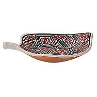 Ceramic decorative bowl, 'Marajoara Leaf in Red' (16 inch) - Leaf-Shaped Ceramic Decorative Bowl in Red (16 in.)