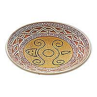Ceramic decorative bowl, 'Turtle Glyph' - Turtle-Themed Ceramic Decorative Bowl from Brazil