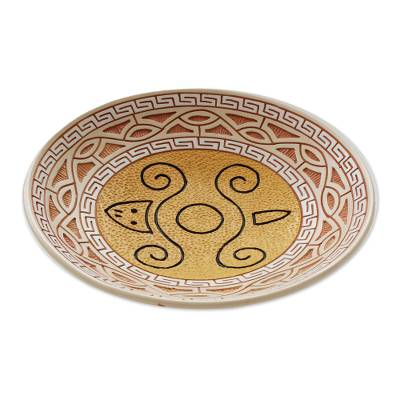 Ceramic decorative bowl, 'Turtle Glyph in Yellow' - Turtle-Themed Ceramic Decorative Bowl from Brazil