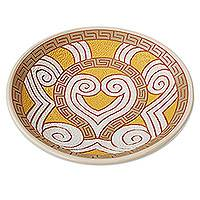 Ceramic decorative bowl, 'Marajoara Curls' (14.5 inch) - Yellow Ceramic Decorative Bowl from in Brazil (14.5 in.)