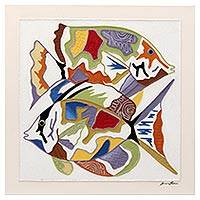 'Fish Series #21' - Signed Mixed Media Painting of Two Fish from Brazil