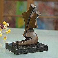 Bronze sculpture, 'Dancing' - Abstract Bronze Sculpture of a Couple Dancing from Brazil