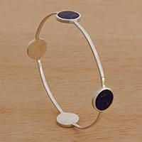 Lapis lazuli bangle bracelet, 'Planetary Cycle' - Modern Lapis Lazuli Bangle Bracelet from Brazil
