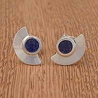 Lapis lazuli button earrings,