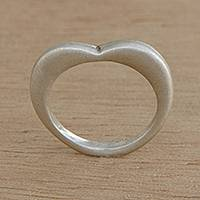 Sterling silver band ring, 'Wreathed in Love' - Heart-Shaped Sterling Silver Band Ring from Brazil