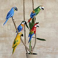 Wood figurines, 'Delightful Parrots' (set of 5) - Hand-Painted Wood Parrot Figurines from Brazil (Set of 5)