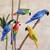Wood decorative accents, 'Delightful Parrots' (set of 5) - Wood Parrot Decorative Accents from Brazil (Set of 5) (image 2e) thumbail