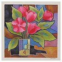 'Flower Series #257' - Signed Colorful Abstract Still Life Painting from Brazil
