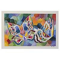 'Butterfly Series #30' - Signed Colorful Abstract Butterfly Painting from Brazil