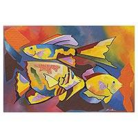 'Fish Series #20' - Signed Colorful Abstract Fish Painting from Brazil