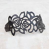 Leather wristband bracelet, 'Brazilian Flowers in Black' - Floral Leather Wristband Bracelet in Black from Brazil
