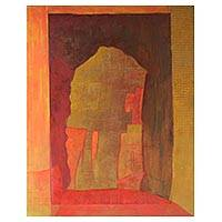 'Relief Series IX - Monolith' - Signed Earth-Tone Abstract Painting from Brazil