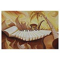 'Sun Scale Series II' - Signed Music-Themed Surrealist Painting from Brazil