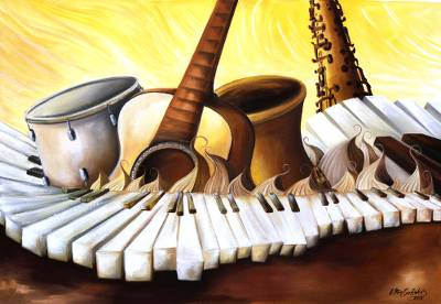 'Sun Scale Series IV' - Signed Music-Themed Surrealist Painting from Brazil