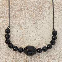 Black rhodium plated agate pendant necklace, 'Gala Elegance' - Black Rhodium Plated Agate Pendant Necklace from Brazil