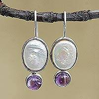 Amethyst and cultured pearl drop earrings, 'Oval Grandeur' - Amethyst and Oval Cultured Pearl Drop Earrings from Brazil