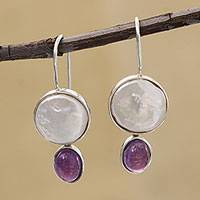 Amethyst and cultured pearl drop earrings, 'Circular Grandeur' - Amethyst and Circle Cultured Pearl Drop Earrings from Brazil