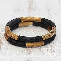 Golden grass bangle bracelets, 'Nature Rings' (pair) - Natural Golden Grass Bangle Bracelets from Brazil (Pair)
