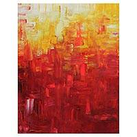 'Red Abstraction I' - Signed Abstract Painting in Red and Yellow from Brazil