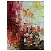 'Red Abstraction II' - Signed Abstract Painting by a Brazilian Artist