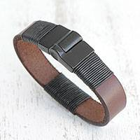 Men's leather wristband bracelet, 'Strong Espresso'