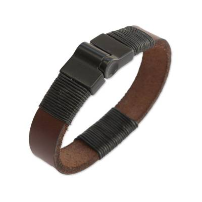 Men's leather wristband bracelet, 'Strong Espresso' - Men's Brown Wristband Bracelet Crafted in Brazil