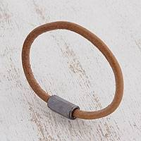 Men's leather cord bracelet, 'Earthen Strength' - Men's Cord Cord Bracelet from Brazil