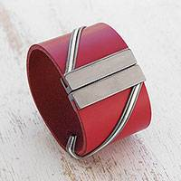 Leather wristband bracelet, 'Red Fantasy'