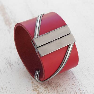 Leather wristband bracelet, 'Red Fantasy' - Modern Red Leather Wristband Bracelet from Brazil