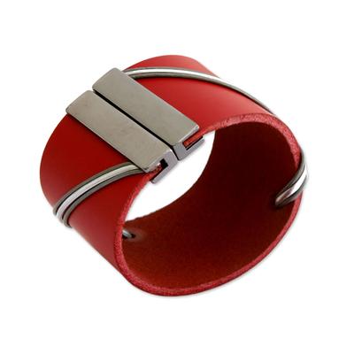 Leather wristband bracelet, 'Red Fantasy' - Modern Red Leather Wristband Bracelet from Brazil