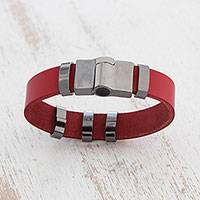Leather wristband bracelet, 'Red Space'