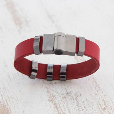 Leather wristband bracelet, 'Red Space' - Modern Red Leather Wristband Bracelet from Brazil
