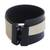 Leather wristband bracelet, 'Modern Tango' - Modern Black and White Leather Wristband Bracelet thumbail